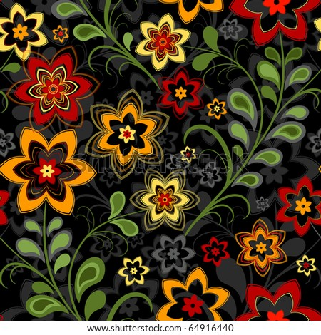 Seamless floral black pattern with vivid flowers (vector) - stock vector