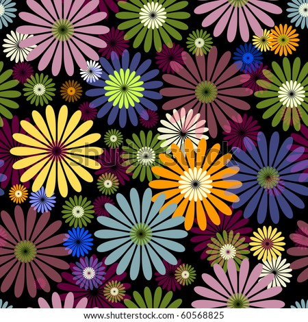 Seamless floral black pattern with vivid flowers (vector EPS 10) - stock vector