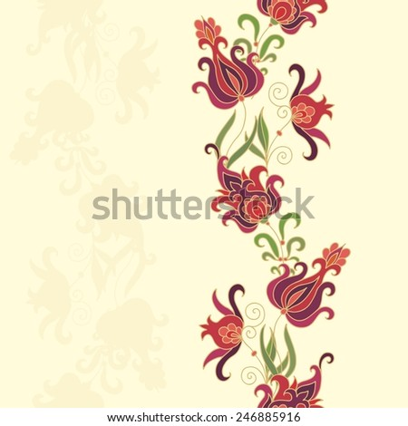 Seamless floral border  - stock vector
