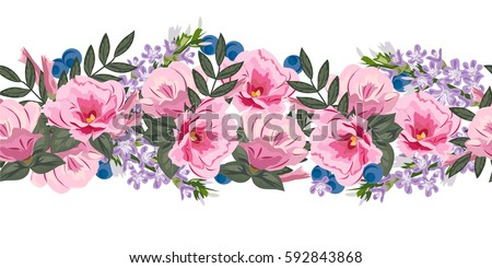 Seamless floral border cute pink flowers stock vector 592843868 seamless floral border with cute pink flowers hand drawn pattern on white background mightylinksfo