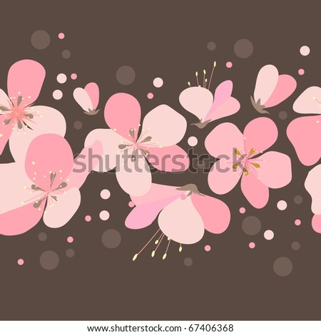 Seamless floral border with pink cherry flowers