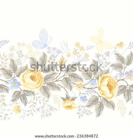 seamless floral border with roses - stock vector