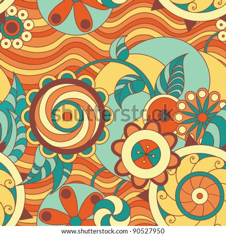 Seamless floral colorful pattern - stock vector