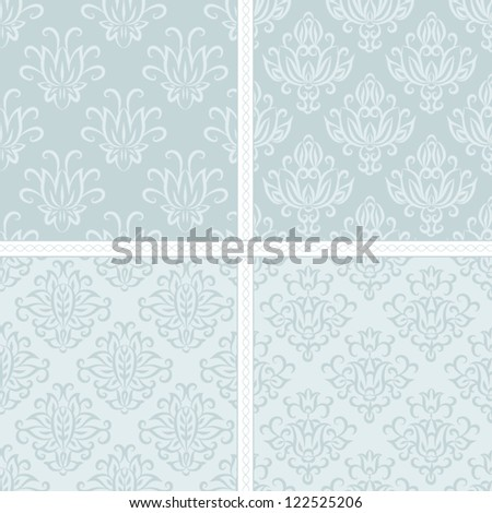 Seamless floral damask pattern. Seamless pattern can be used for wallpaper, pattern fills, web page background,surface textures, wrapping paper. Floral textile background - stock vector