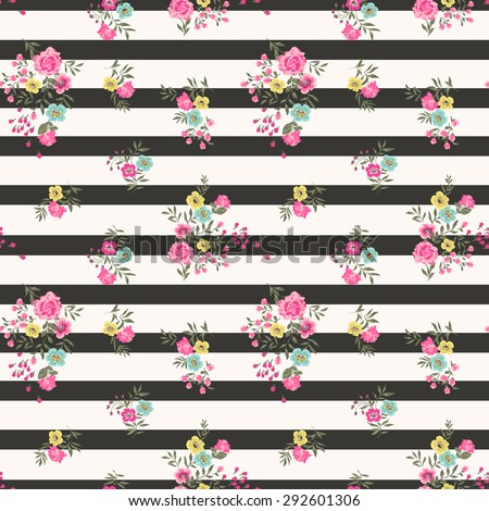 Seamless Floral Ditsy Pattern in vector  - stock vector