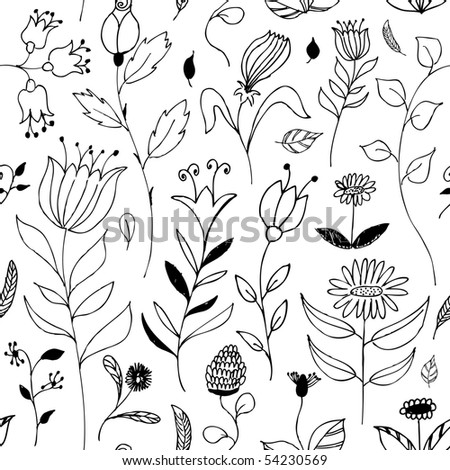 seamless floral doodle background - stock vector