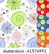 Seamless floral doodle, different color versions. - stock vector
