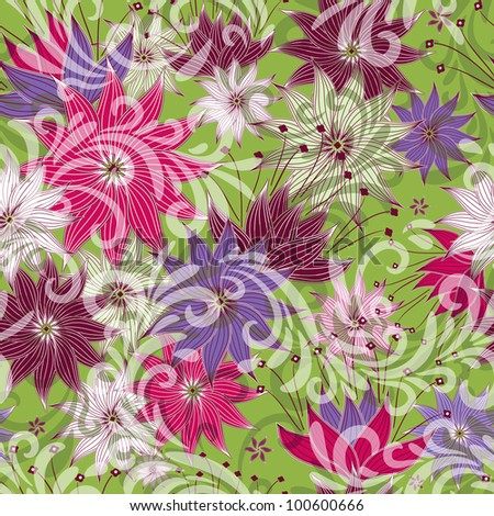 Seamless floral green pattern with colorful vintage flowers and translucent curls (vector eps 10) - stock vector