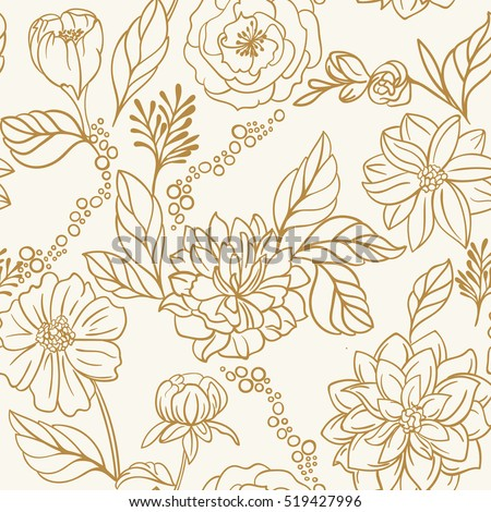 Seamless floral hand drawn detailed pattern, bouquet of flowers
