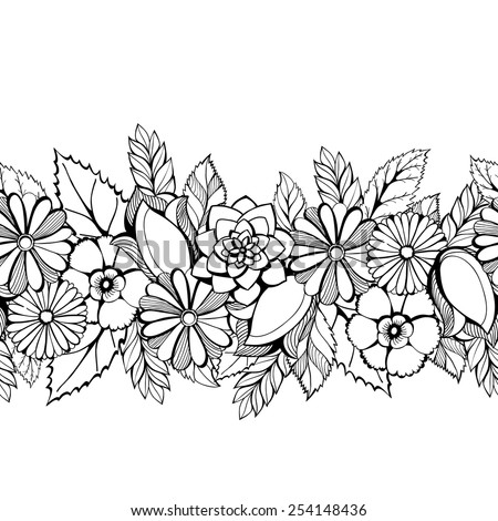 Seamless  floral lacy border - stock vector