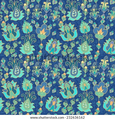 Seamless floral paisley pattern - stock vector