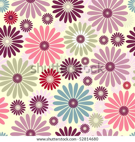 Seamless floral pastel pattern with colorful flowers (vector) - stock vector