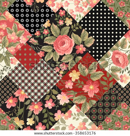 seamless floral patchwork pattern with rose bouquet