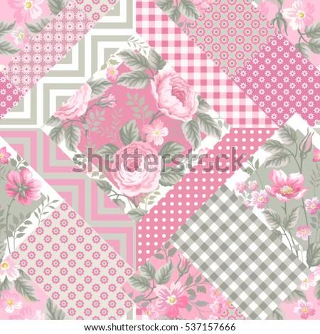 floral seamless pattern plaid background vector stock vector 713761402 shutterstock. Black Bedroom Furniture Sets. Home Design Ideas