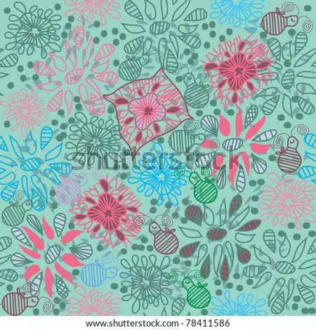 seamless floral patter with bee - stock vector