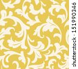 Seamless floral pattern. Abstract leaves silhouette on yellow background. Old styled wallpaper - stock vector