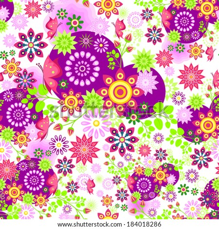 Seamless floral pattern and butterflies on a single level-transparency blending effects and gradient mesh-EPS 10. - stock vector