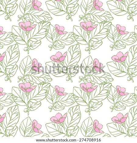 Seamless floral pattern, apple flowers. Beautiful flowers. Color apple. Delicate wedding pattern. Line art.  Pencil style. Just nice vegetable patterns. - stock vector