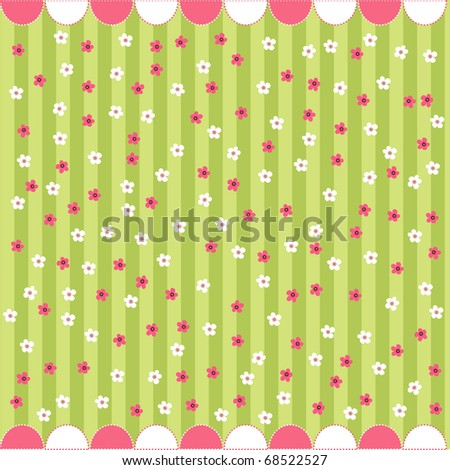 seamless floral pattern, baby card - stock vector