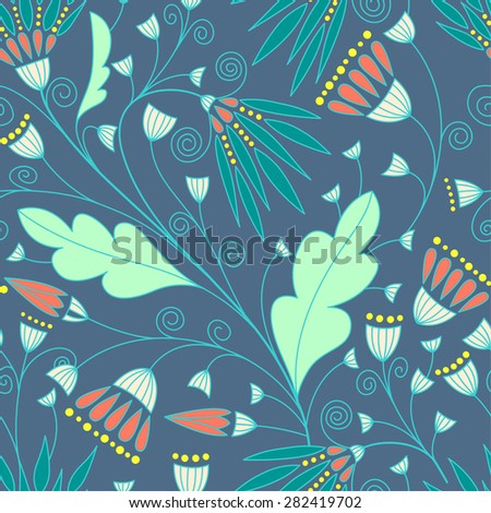Seamless floral pattern background. Blue flower texture.