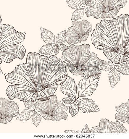 Seamless floral pattern. Background with flowers and leafs. - stock vector