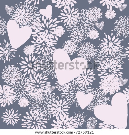 seamless floral pattern. background with heart - stock vector