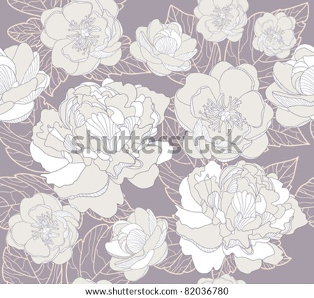Seamless floral  pattern. Background with peonies and cherry blossom flowers. - stock vector