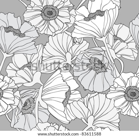Seamless floral pattern. Background with poppy flowers. - stock vector