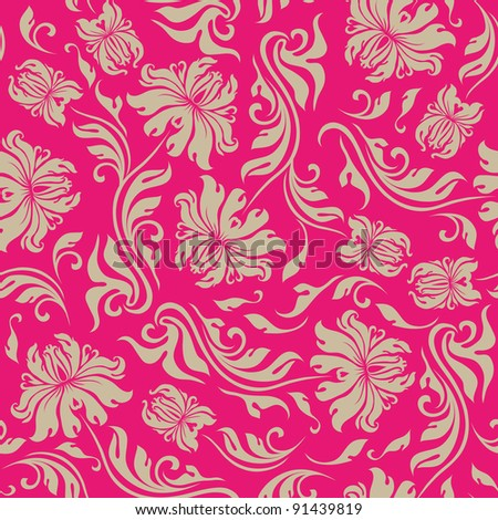 Seamless floral pattern. Beige flowers on a red background. - stock vector