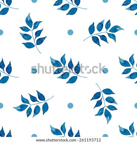 Seamless floral pattern. Blue twigs, leaves, foliage and circles on a white background, watercolor, ink.  - stock vector