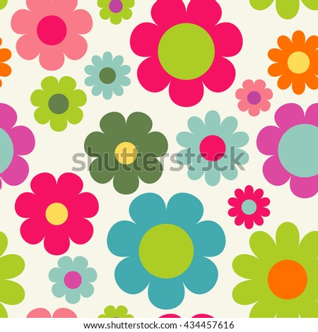 Seamless floral pattern. Colorful cute background with flowers.  - stock vector