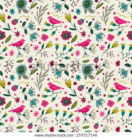 Seamless floral pattern. Colorful flowers and birds. - stock vector