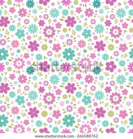 Seamless floral pattern. Colorful flowers, white background.