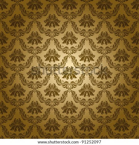 Seamless floral pattern. Flowers on a gold background. EPS 10 - stock vector