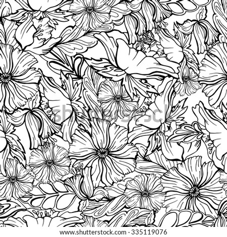 Seamless floral pattern. Flowers texture black and white image anti-stress - stock vector
