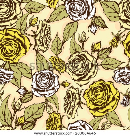 Seamless floral pattern. Flowers texture. yellow beige light white - stock vector