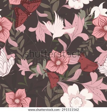 Seamless floral pattern. For easy making seamless pattern just drag all group into swatches bar, and use it for filling any contours. Vector illustration. - stock vector