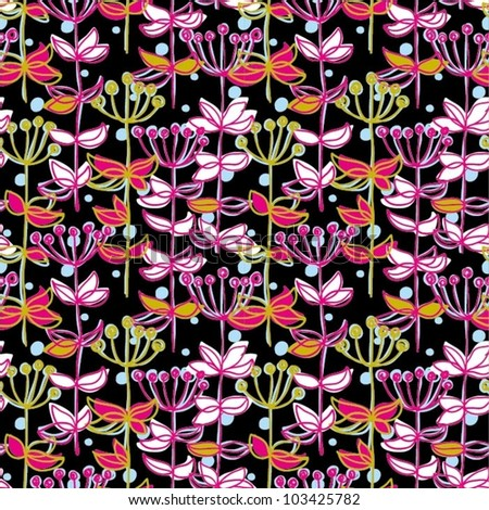 Seamless floral pattern for fabric - stock vector