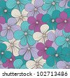 Seamless floral pattern in blue colors. Vector illustration - stock vector