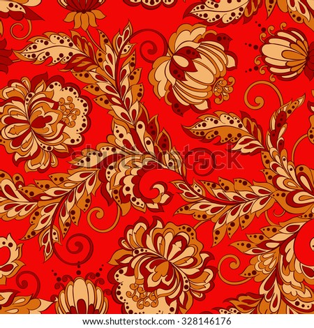Seamless Floral pattern in Damask Style - stock vector