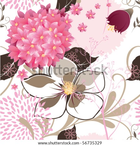 Seamless floral pattern in pink, cream and brown color - stock vector