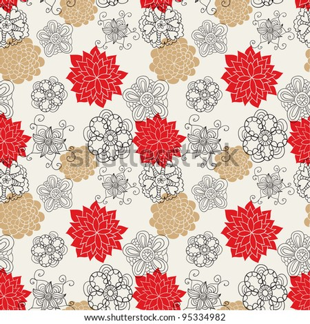 Seamless floral pattern in retro style - stock vector