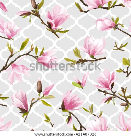 Seamless Floral Pattern. Magnolia Flowers and Leaves. Geometry Background. Exotic Flower. Vector Design. Floral Texture. Summer and Spring Floral Background.   - stock vector