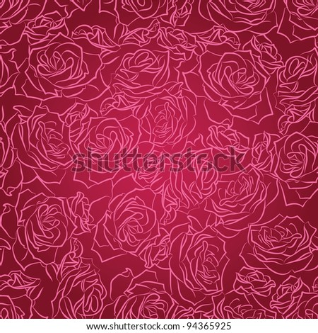 Seamless floral pattern of pink roses on a red background, vector - stock vector