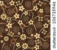 seamless floral pattern on a brown background - stock vector
