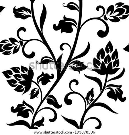 Seamless floral pattern on a white background - stock vector