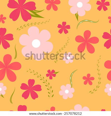 Seamless floral pattern on an orange background  - stock vector