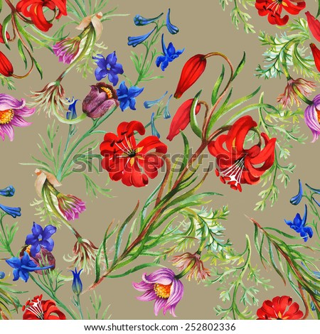 Seamless floral pattern on beige background with meadow flowers vector illustration