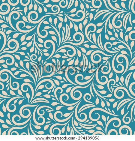Seamless floral pattern on uniform background. Ornament darkcyan, design fabric art, fashion contour, vector illustration