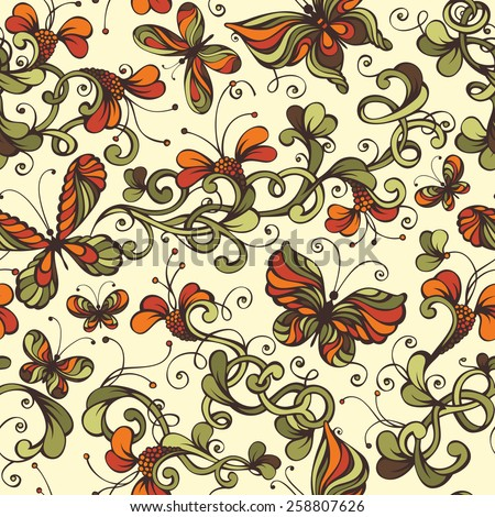 Seamless floral pattern. Ornate nature background with floral elements and butterflies.  - stock vector